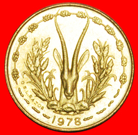 + FRANCE GOLD FISH AND GAZELLE: WEST AFRICAN STATES ★ 5 FRANCS 1978 MINT LUSTER! LOW START ★ NO RESERVE! - Munten