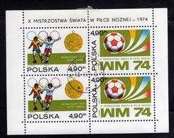 POLONIA POLAND POLSKA 1974 FIFA WORLD CUP FOOTBALL BLOCK SHEET BLOCCO FOGLIETTO BLOC FEUILLET USED USATO OBLITERE' - Blocchi