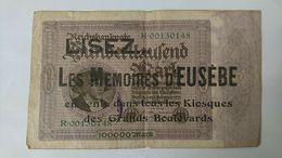BILLET 100000 MARK SURCHARGE LISEZ LES MEMOIRES D EUSEBE KIOSQUES GRANDS BOULEVARDS - ALLEMAGNE - [ 3] 1918-1933 : République De Weimar