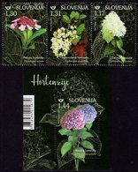 Slovenia - 2019 - Flowers - Hydrangea - Mint Stamp Set + Souvenir Sheet - Slovenia