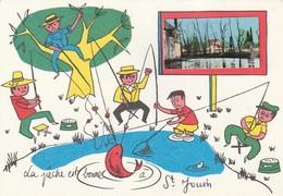 SAINT-JOUIN DE MARNES. -  Carte Dessinée Humoristique.  La Pêche Est Bonne - Saint Jouin De Marnes