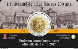 Belgie 2017  2 Euro Commemo 200 Jaar UNIV. De Liège  Version Français   In Coincart   Extreme Rare !!! UNC - België