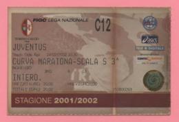 Biglietto D'ingresso Stadio Torino Juventus Stagione 2001/2002 - Toegangskaarten