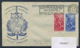 Italia Repubblica 1954 Sass. 744-745 Primo Giorno 100% Assemblea Generale Dell'Interpol - 6. 1946-.. Repubblica