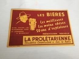 Buvard Ancien BIÈRE LA PROLÉTARIENNE BRASSERIE COOPÉRATIVE SIN LE NOBLE NORD - Liqueur & Bière