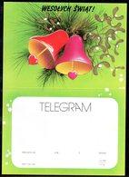 POLAND 1990 TELEGRAM HAPPY CHRISTMAS XMAS BELLS HEARTS MINT UNFOLDED LX 237 TÉLÉGRAMME TELEGRAMM TELEGRAMA TELEGRAMMA - Covers & Documents