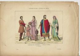 Gravure Ancienne Paris V ème Siècle Costume Parisien Famille De Laboureur Paysan Noble Noblesse Vêtement Mode - Collections