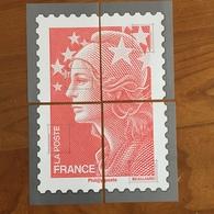 Feuillets Gommés SANS VALEUR FACIALE Formant Les 4 Quarts Du Timbre Marianne De Beaujard Rouge - 2011 - Documenti Della Posta