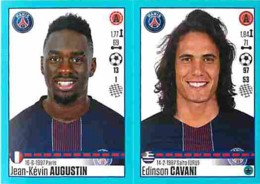 Stickers Panini France Foot 2016-2017 - 712 - Paris - Jean-Kévin Augustin - Edinson Cavani - Voir Scans Recto-Verso - Panini