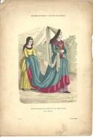 Gravure Ancienne Paris XV ème Siècle Costume Parisien Famille Bourgeoise Bourgeois Bourgeoisie Servante Vêtement Mode - Collections