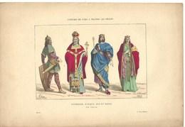 Gravure Ancienne Paris VI ème Siècle Costume Parisien Guerrier évêque Roi Reine Royauté Arme Militaria  Vêtement Mode - Collections