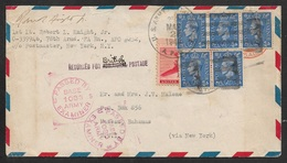 1944 - US / GB Mixed Franking - A.P.O 252 Tidworth To BAHAMAS - Censor - Returned For British Postage - RARE - Postal Stationery