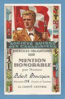 Schweiz Suisse 1933: SOCIÉTÉ SUISSE DES CARABINIERS - EXERCICES OBLIGATOIRES 1933 - MENTION HONORABLE (Format 118x184mm) - Waffenschiessen