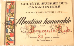 Schweiz Suisse 1952: SOCIÉTÉ SUISSE DES CARABINIERS - EXERCICES OBLIGATOIRES 1952 - Mention Honorable (Format 118x184mm) - Waffenschiessen