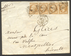 24) N°13 Sur Lettre. Bande De 4 TP - 1853-1860 Napoléon III