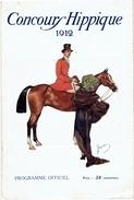 PROGRAMME CONCOURS HIPPIQUE 1912 AU GRAND PALAIS DES CHAMPS ELYSEES PARIS OBSTACLES ATTELAGE EQUITATION CHASSE MILITAIRE - Equitation
