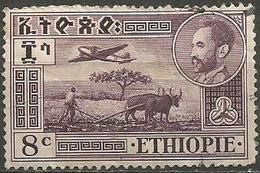 Ethiopia - 1947 Airplane & Ploughman 8c  Used    Sc C23 - Ethiopia