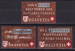 Switzerland / Schweiz / Suisse : 1942 Altstoff Sammeln Gestempelter Satz Michel 405 / 407 - Suisse