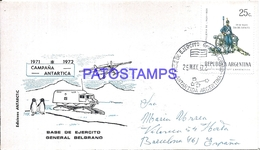 117453 ARGENTINA ANTARTIDA ANTARCTICA BASE EJERCITO GRAL BELGRANO COVER 1973 CIRCULATED TO SPAIN NO POSTCARD - Argentinien