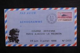 FRANCE - Aérogramme De La Course Aérienne  Paris / Ajaccio / La Réunion En 1988 - L 38078 - Luftpost