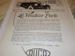 ANCIENNE  PUBLICITE LE VENDEUR PARLE  DE  DUCO 1925 - Transportation