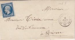 LETTRE 1857. N° 14. 4 TRES GRANDES MARGES. PUY-DE-DOME ST GERVAIS D'AUVERGNE POUR RIOM - Storia Postale