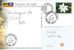 13065  PAP Coucher De Soleil Sur La POINTE VÉNUS - TAHITI - POLYNÉSIE  2012 - Lettres & Documents
