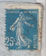 LETTRE 1922. CHOMELIX Hte-LOIRE. SEMEUSE 25c PIQUAGE DECALÉ VOISIN. POUR PARIS TAXE - Postmark Collection (Covers)