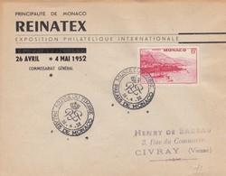 LETTRE. MONACO. REINATEX 1952 - Storia Postale