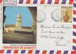 LETTRE. DJIBOUTI 1989 MOSQUEE DE LA PLACE MAHAMOUD-HARBI - Djibouti (1977-...)