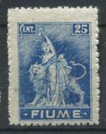 Fiume 1919 Sass. 38 Nuovo ** 100% 25 Centesimi - 8. Occupazione 1a Guerra