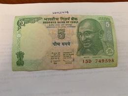 India 5 Rupees Gandhi  2010  Banknote - India