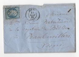 LAC De Longwy (52 - Meurthe) Pour Rambervillers (82 - Vosges), 10 Mai 1861. Losange PC 1758 Sur YT N°14A - 1849-1876: Période Classique