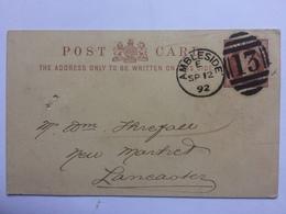 GB Victoria PPC 1892 Ambleside Duplex To Lancaster - 1840-1901 (Victoria)