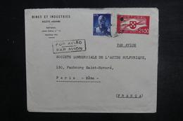 PORTUGAL - Enveloppe Commerciale De Setubal Pour Paris En 1946, Affranchissement Plaisant - L 38108 - Covers & Documents