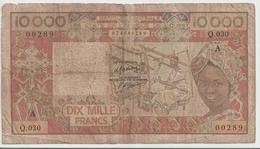 WEST AFRICAN STATES P. 109Ah 10000 F 1977 Poor - Costa D'Avorio