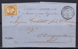 Mouthiers-sur-Boëme (Charente) : LAC, Càd 22 Et PC 3941 Sur Napoléon N°13, Indice 21, 1860, Signée Baudot. - Storia Postale