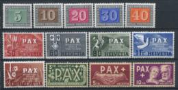 Svizzera 1945 Mi. 447-459 Nuovo * 100% Pace PAX - Svizzera