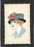 CPA Dessin Original Fait à La Main Art Nouveau Femme Girl Women érotisme Glamour Non Circulé Chapeau Mode Signé MJA - Mujeres
