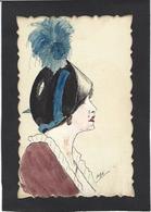 CPA Dessin Original Fait à La Main Art Nouveau Femme Girl Women érotisme Glamour Non Circulé Chapeau Mode Signé MJA - Women