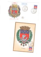 La Réunion  Enveloppe 1er Jour Et Carte Postale 1er Jour Du Blason De Paris - Réunion (1852-1975)