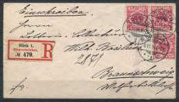 Impero Tedesco 1894 Busta 100% Dobeln, Raccomandata, H. Caspar - Germania