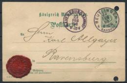Wurttemberg 1898 Intero Postale 100% RAVENSSBURG, REUTLINGEN, BAHNHOF - Wuerttemberg