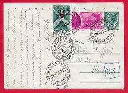 ITALIA REPUBBLICA USATO - 1954 - CARTOLINA POSTALE ESPRESSO - Siracusana Testo Lungo - £ 20 - Unificato CP154 - 6. 1946-.. Repubblica