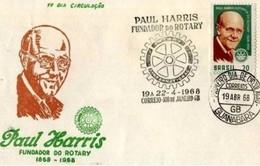 BRASILE  -  22 4 1968   FDC ROTARY - Rotary, Lions Club