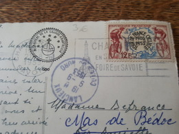 1953 Flamme Chambery En Septembre, Foire De Savoie Sur Timbre N°955 Cycliste - TAD Lancieux - Erreur D'adresse? - Mechanische Stempels (reclame)
