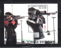 Sao Tomè -   1993. Pre-Atlanta '96. Tiro Con La Carabina. Rifle Shooting. MNH Sheet - Estate 1996: Atlanta