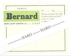 LIEGE - Armes BERNARD - Armurier, Arme - Etiquette Gommée Pour Colis (b254) - Belgique