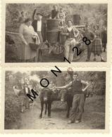 ATTELAGE DE BOEUFS RECOLTE (A IDENTIFIER) - 2 PHOTOS D'EPOQUE 11x7 Cms - Berufe