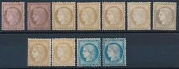 CZ-207: FRANCE:lot Avec Céres Dentelés NSG N°54(2)-55(4)-56-58(2)-60A-60C - 1871-1875 Ceres